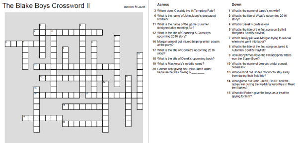 Blake Boys Crossword II