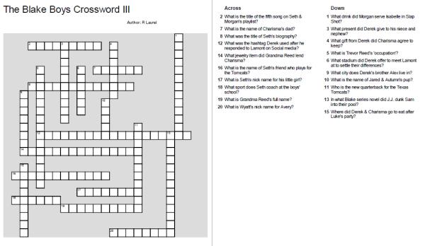 Blake Boys Crossword III
